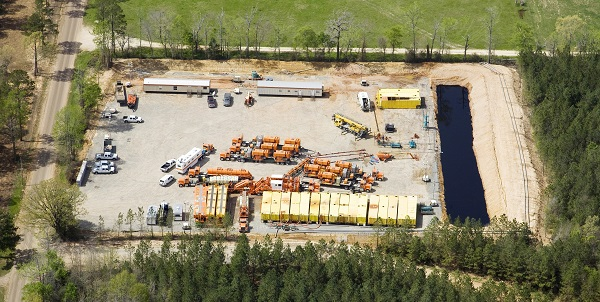 Fracturing Equipment Work in a US Shale Gas Well Site